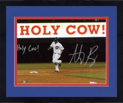 "Framed Anthony Rizzo Chicago Cubs Autographed 8"" x 10"" Holy Cow Photograph with Holy Cow Inscription"