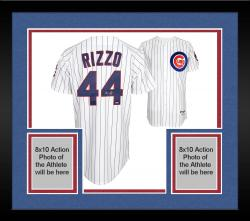 Framed Anthony Rizzo Chicago Cubs Autographed Replica Jersey - White Pinstripe
