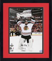 """Framed Antti Niemi Chicago Blackhawks Autographed 16"""" x 20"""" Photograph  with 2010 SC Champs Inscription"""