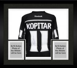 Framed Anze Kopitar Los Angeles Kings 2014 Stanley Cup Champions Autographed Black Reebok Jersey - Mounted Memories