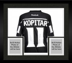 Framed Anze Kopitar Los Angeles Kings 2014 Stanley Cup Champions Autographed Black Reebok Jersey with SC Champs Inscription - Mounted Memories