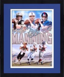"Framed Archie, Peyton, and Eli Manning Three Quarterbacks Autographed 16"" x 20"" Photo"