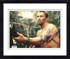 "Framed Arnold Schwarzenegger Autographed 8""x 10"" Predator Holding Gun with know Shirt Photograph - PSA/DNA COA"
