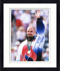 """Framed Andre Agassi Autographed 8"""" x 10"""" 1996 Olympics Arm in Air Photograph"""