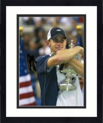 Framed Andy Roddick Autographed 8'' x 10'' Navy Shirt Trophy Photograph
