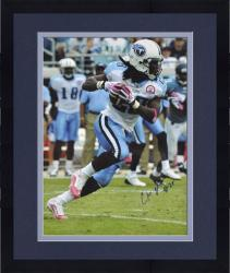 Framed Chris Johnson Tennessee Titans Autographed 16'' x 20'' Pink Cleats & Gloves Photograph