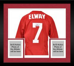 Framed Autographed John Elway Jersey - Red Mesh Custom Mounted Memories