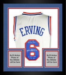 Framed Autographed Julius Erving Limited Edition Jersey - Multiple Inscriptions