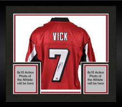 Framed Autographed Michael Vick Jersey - Reebok Red Mounted Memories