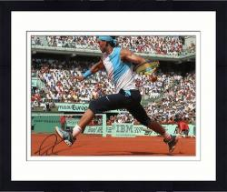 "Framed Rafael Nadal Autographed 8"" x 10"" Light Blue Shirt Long Dark Shorts Photograph"