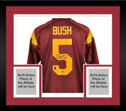 Framed Autographed Reggie Bush Jersey - Nike Mounted Memories