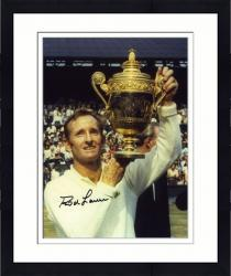 """Framed Rod Laver Autographed 8"""" x 10"""" White Sweater Holding Trophy Photograph"""