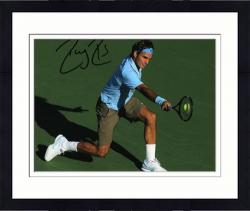 "Framed Roger Federer Autographed 8"" x 10"" Light Blue Red Nike On Green Photograph"