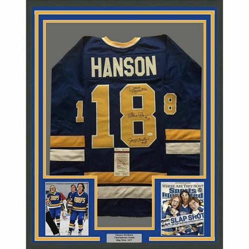 FRAMED Autographed/Signed HANSON BROTHERS 33x42 Slap Shot Blue Jersey JSA COA