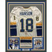 FRAMED Autographed/Signed HANSON BROTHERS 33x42 Slap Shot White Jersey JSA COA