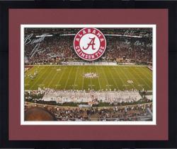 "Framed Barrett Jones and Bryant Denny Alabama Crimson Tide Stadium Autographed Panoramic Photo with ""Roll Tide/3X BCS Champ"" Inscription"