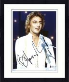 """Framed Barry Manilow Autographed 8""""x 10""""  Playing Piano in White Shirt Photograph With Black Ink - Beckett COA"""