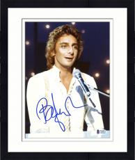 """Framed Barry Manilow Autographed 8""""x 10""""  Playing Piano in White Shirt Photograph With Blue Ink - Beckett COA"""