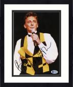"""Framed Barry Manilow Autographed 8""""x 10"""" Singing in Black & Yellow Shirt Photograph - Beckett COA"""