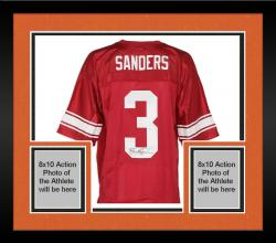 Framed Barry Sanders Wichita High School Autographed Nike Red Jersey
