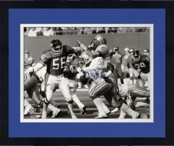 Framed Barry Sanders Detroit Lions Autographed 16'' x 20'' vs Lawrence Taylor Photograph