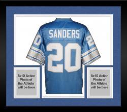 Framed Barry Sanders Detroit Lions Autographed Pro Line Blue Jersey