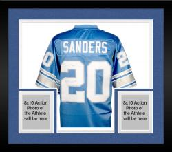 Framed Barry Sanders Detroit Lions Autographed Pro Line Blue Jersey with 1997 MVP Inscription