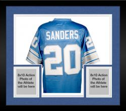Framed Barry Sanders Detroit Lions Autographed Pro Line Blue Jersey with HOF 04 Inscription