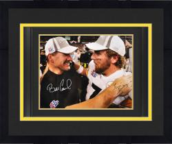 "Framed Ben Roethlisberger & Bill Cowher Pittsburgh Steelers Dual Signed 16"" x 20"" Super Bowl XL Photograph"