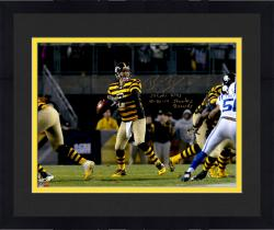 "Framed Ben Roethlisberger Pittsburgh Steelers Autographed 16 "" x 20 "" Dropback Pass Vs. Indianapolis Colts Photograph with Steeler Record Inscriptions - Limited Edition #2-49 of 50"