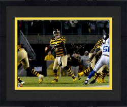 "Framed Ben Roethlisberger Pittsburgh Steelers Autographed 16"" x 20"" Throwback Jersey Throwing Photograph"