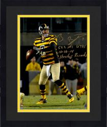 "Framed Ben Roethlisberger Pittsburgh Steelers Autographed 8"" x 10 "" Dropback Pass Vs. Indianapolis Colts Photograph with Steeler Record Inscriptions - Limited Edition #2-49 of 50"