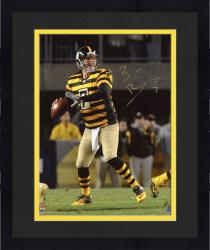 "Framed Ben Roethlisberger Pittsburgh Steelers Autographed 8"" x 10"" Throwback Jersey Throwing Photograph"