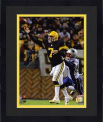 Framed Ben Roethlisberger Pittsburgh Steelers Autographed 8'' x 10'' Throwback Uniforms Passing Photograph