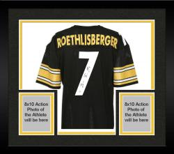 Framed Ben Roethlisberger Pittsburgh Steelers Autographed Black Jersey