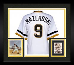 Framed Bill Mazeroski Pittsburgh Pirates Autographed Majestic White Replica Jersey with HOF 2001 Inscription
