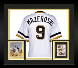 Framed Bill Mazeroski Pittsburgh Pirates Autographed Majestic White Replica Jersey with HOF 2001 Inscription