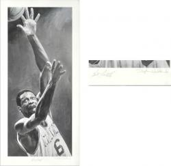 "Framed Bill Russell Boston Celtics Autographed Black & White 18.5"" x 40"" Lithograph"