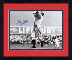 Framed Bob Feller Autographed 8'' x 10'' Glove Behind Head Photograph with HOF 62 Inscription