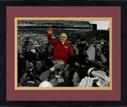 Framed Bobby Bowden Florida State Seminoles Autographed 11'' x 14'' On Shoulders Spotlight Photograph