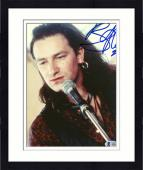 "Framed Bono Autographed 8""x 10"" U2 Singing Photograph - Beckett COA"