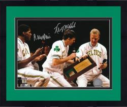 Framed Boston Celtics Kevin McHale and Rober Parish Autographed Larry Bird Retirement Photo