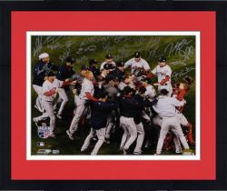 Framed Boston Red Sox 2007 World Series Celebration Team Autographed 16'' x 20'' Photograph with 23 Signatures