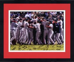 Framed Boston Red Sox 2007 World Series Celebration Team Signed 16'' x 20'' Photograph with 22 Signatures