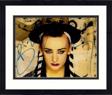 "Framed Boy George Autographed 11"" x 14"" Blue Eyeliner and Red Lipstick Photograph - PSA/DNA COA"