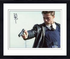 """Framed Brad Pitt Autographed 8"""" x 10"""" Seven Holding Gun Photograph - Beckett COA"""