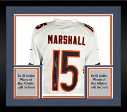 Framed Brandon Marshall Chicago Bears Autographed White Nike Limited Jersey