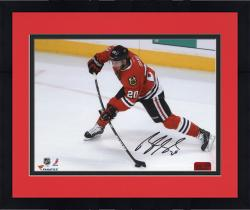 Framed Brandon Saad Chicago Blackhawks Autographed 8'' x 10'' Red Uniform with Puck Photograph