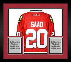 Framed Brandon Saad Chicago Blackhawks Autographed Premier Red Jersey