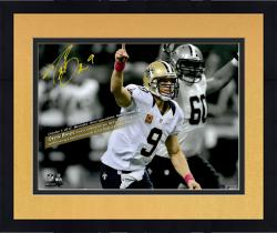 Framed Drew Brees New Orleans Saints Autographed 16'' x 20'' Spotlight 48 Games With Touchdown Photograph